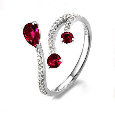 Beautiful Ruby and Moissanite Diamond Engagement Ring on 10k White Gold