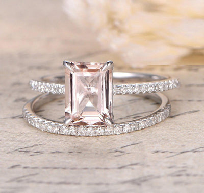 Sale 1.50 Carat Peach Pink Morganite (emerald cut Morganite) and Diamond Engagement Ring Wedding Bridal Set in 10k White Gold