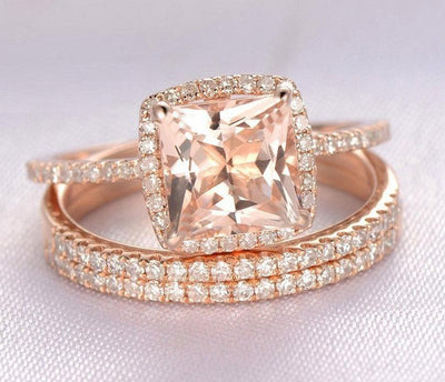 Sale 2 carat Morganite Trio Wedding Bridal Ring Set with One Engagement Ring and 2 Wedding Bands
