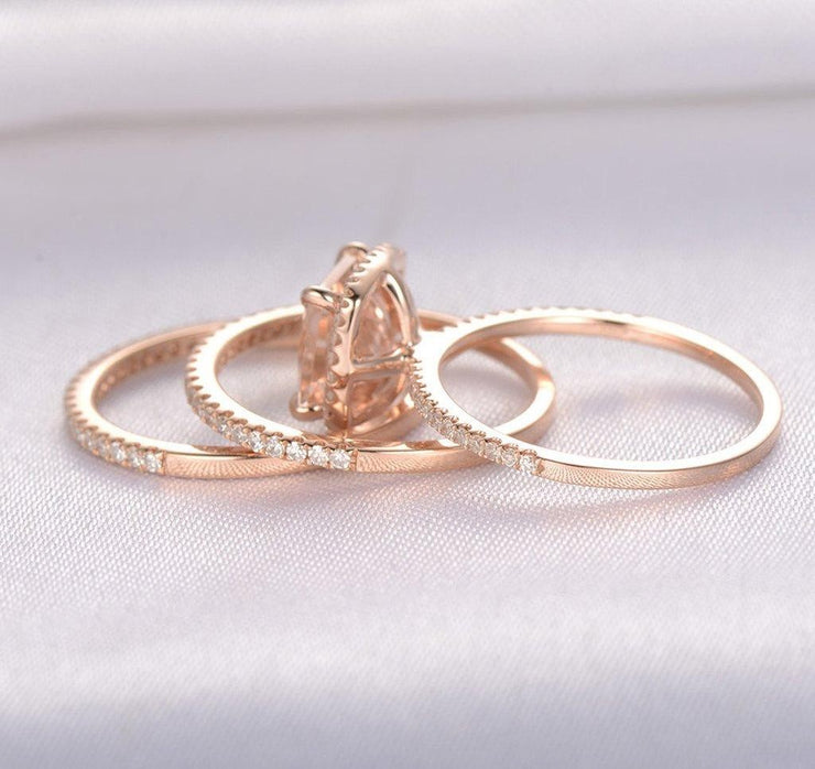 Sale 2 carat Morganite Trio Wedding Bridal Ring Set in 10k Rose Gold with One Engagement Ring and 2 Wedding Bands