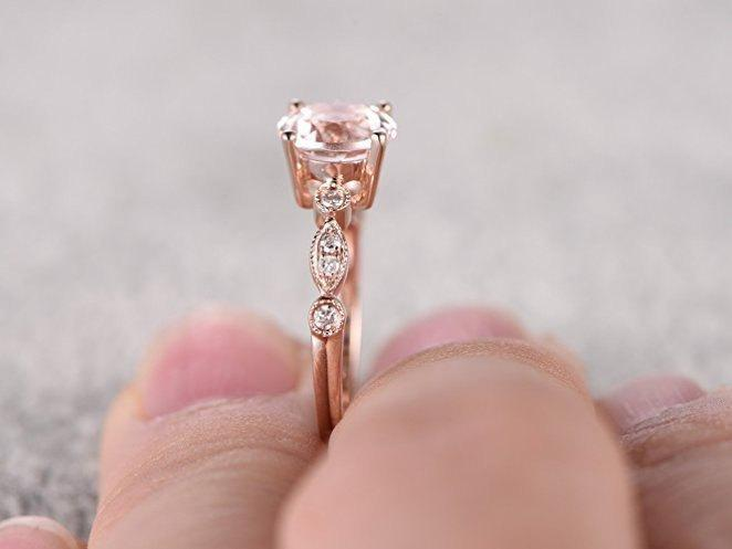 Sale Antique Design 1.25 Carat Peach Pink Morganite and Diamond Engagement Ring Jewelry