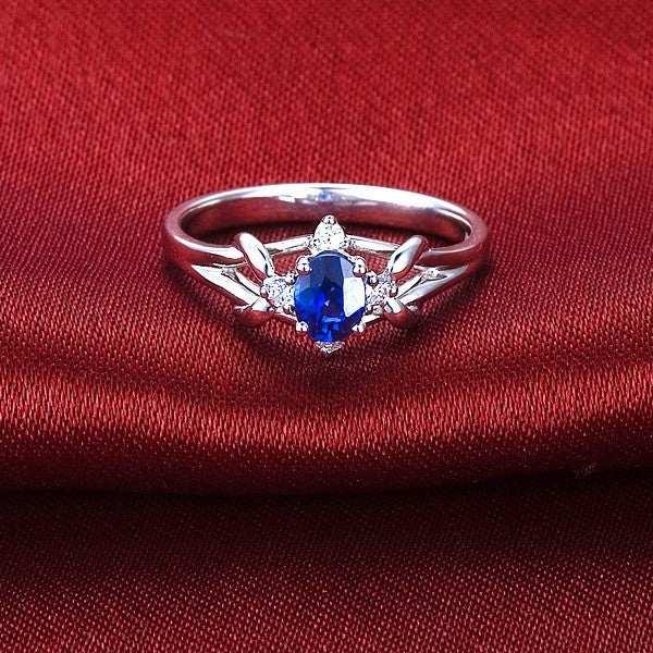 Unique Sapphire and Moissanite Engagement Ring