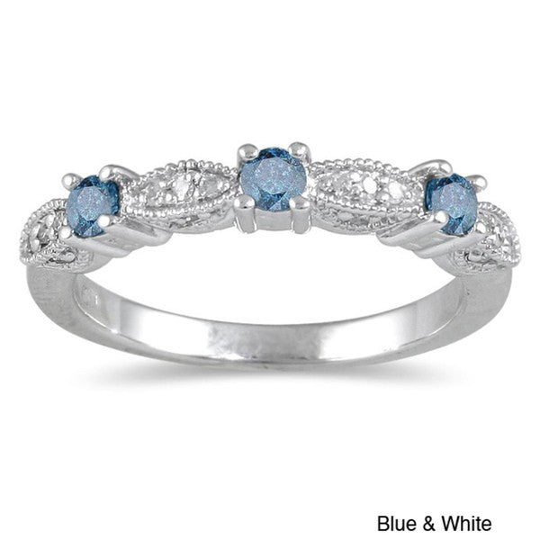 Sapphire and Moissanite Diamond Wedding Ring Band in White Gold