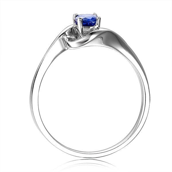 Solitaire Sapphire Wedding Ring on 10k White Gold