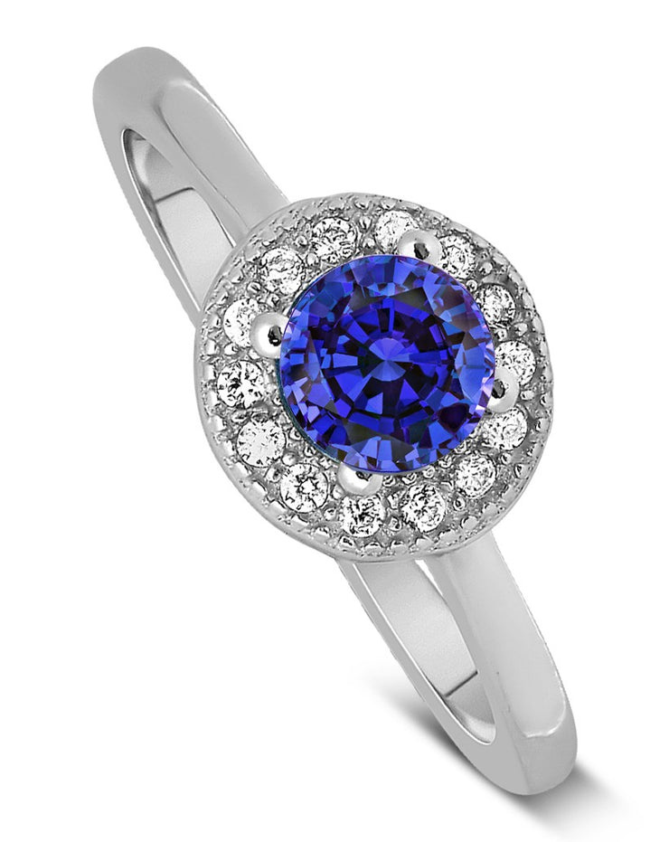 Unique 1.50 Carat Halo Sapphire and Moissanite Diamond Engagement Ring in White Gold