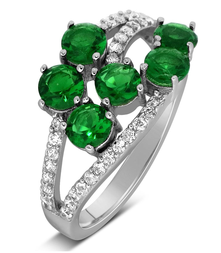 Unique 2 Carat Green Emerald and Moissanite Diamond Ring for Women