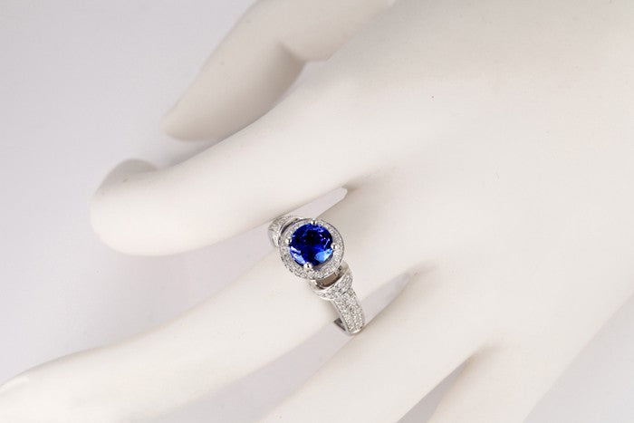 Vintage 1.50 Carat Blue Sapphire and Moissanite Diamond Art Nouveau Engagement Ring in 10k White Gold