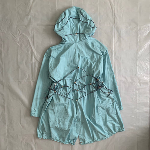 ss2004 Issey Miyake Light Blue Bungee Cord Long Raincoat - Size M