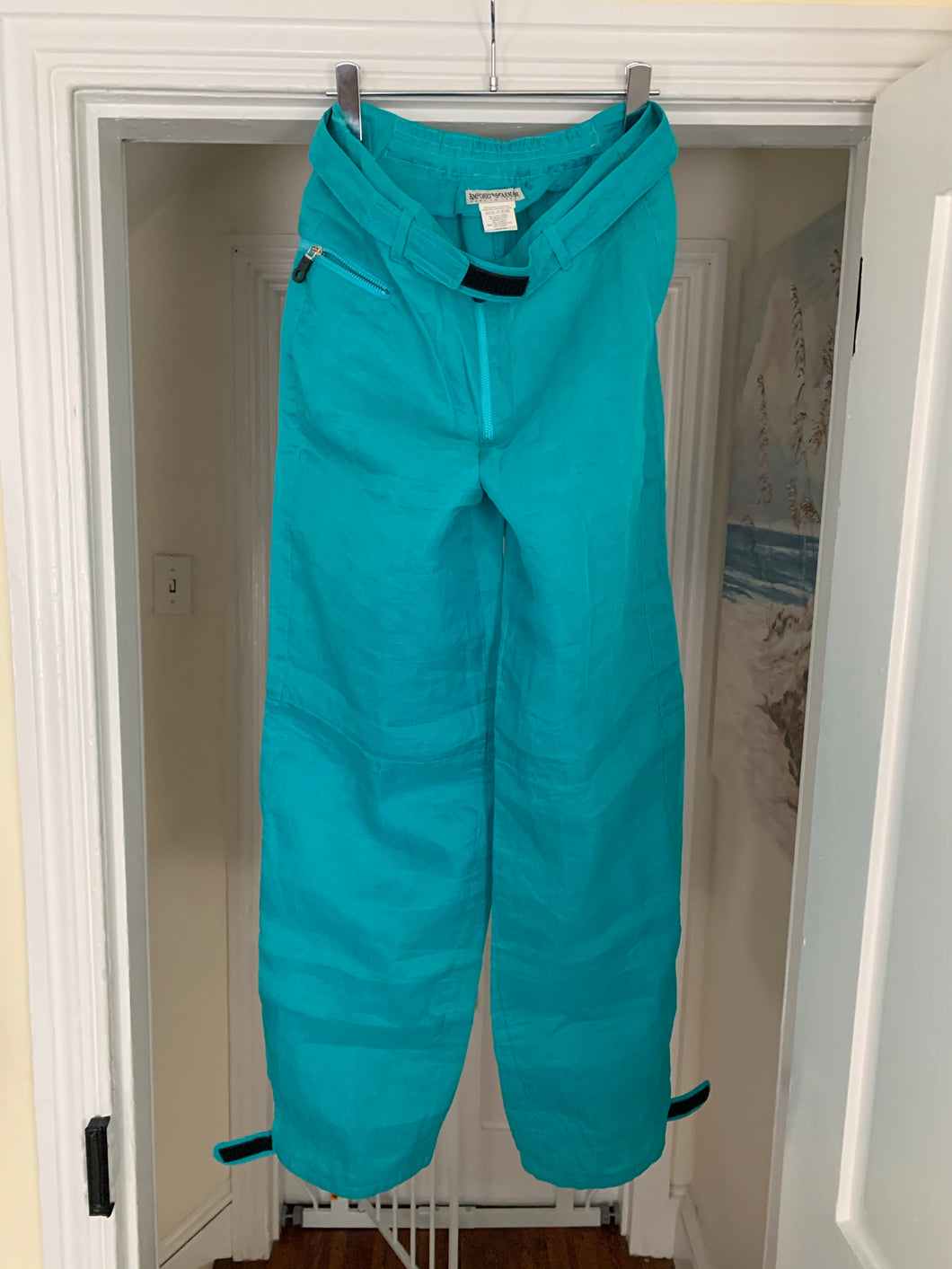 2000s Armani Teal Linen Technical Trousers with Lampo Zippers - Size M