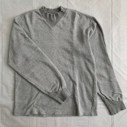 1990s Katharine Hamnett Heather Grey Articulate Neck and Cuff Ribbing - Size M