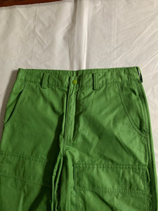 ss2007 Issey Miyake Slime Green Coated Nylon Tactical Pants - Size L