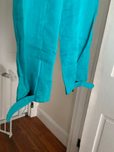 Load image into Gallery viewer, 2000s Armani Teal Linen Technical Trousers with Lampo Zippers - Size M