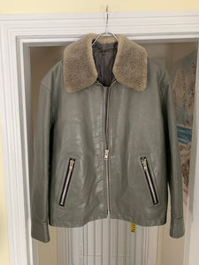 1994 CDGH Slate Grey Leather Jacket with Removable Fur Collar - Size XL