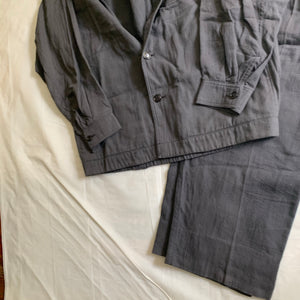 ss1983 Issey Miyake Charcoal Grey Textured Cotton Suit Set - Size L