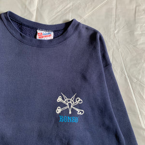 "1990s Vintage Skatebrand ""Bones Wheels"" Faded Navy Crewneck Sweater - Size M"