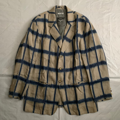 1990s Armani Checkered Dyed Beige Linen Blazer - XL