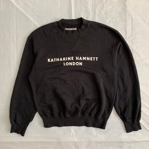 1990s Katharine Hamnett Logo Crewneck with Articulated Neck and Cuff Ribbing - Size L