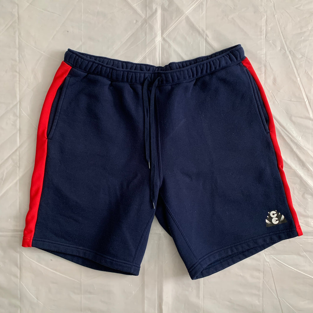 2010s Cav Empt Navy Cotton Sweatshorts with Ribbed Side Seams - Size XL
