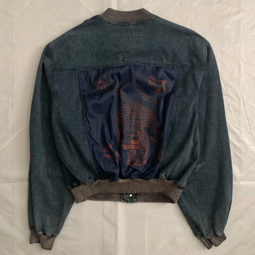 1980s Armani Cropped Denim Bomber Jacket with Oriental Tiger Backpatch - Size L