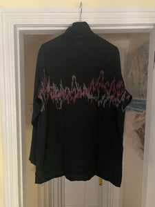 1990s Yohji Yamamoto Pixelated Soundwave Graphic Zip-up Shirt - Size L