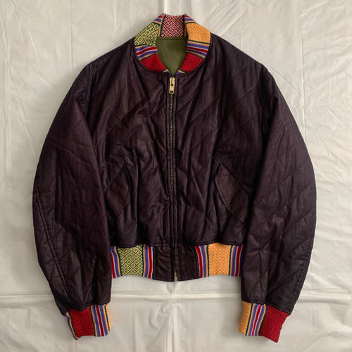 ss1993 Yohji Yamamoto Quilted Cropped Bomber with Ethnic Knitted Ribbing Details - Size OS