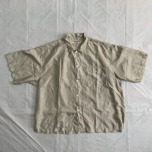 1990s Katharine Hamnett Beige Silk Pocket Short Sleeve Shirt - Size L