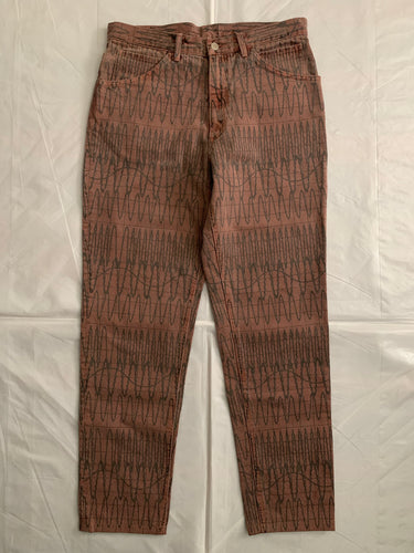 2010s Cav Empt Faded Burnt Orange Overdyed Pants with Soundwave Graphic - Size M
