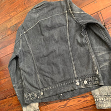 Load image into Gallery viewer, 2000s Yohji Yamamoto Faded Denim Trucker Jacket with Bleach Dipped Sleeve Hems - Size M