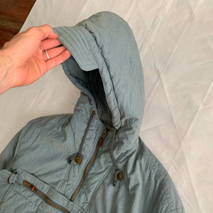 1990s Armani Faded Olive Hooded Bomber with Modular Kangaroo Pouch - Size L