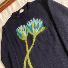 Load image into Gallery viewer, aw1995 Yohji Yamamoto Intasaria Flower Navy Sweater - Size M