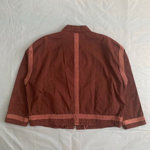 1990s Armani Object Dyed Bordeaux Blouson with Pink Contrast Pipping - Size XL