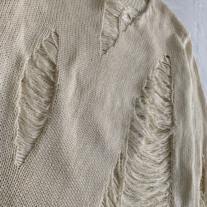 1990s Yohji Yamamoto Destroyed Cream Knitted Sweater - Size M