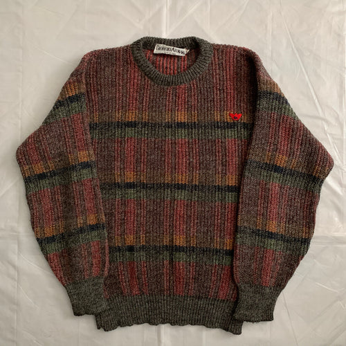 1980s Armani Plaid Multi Colored Wool Sweater - Size L