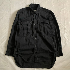 1980s Katharine Hamnett Black Soft Cotton Oversized Military Shirt - Size XL