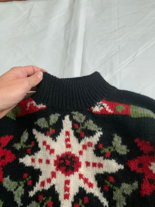 1990s Katharine Hamnett Graphic Intarsia Turtleneck Sweater - Size XL