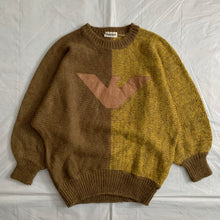 Load image into Gallery viewer, 1980s Armani Batwing Two Tone Mohair Sweater with Brown Leather Eagle Patch - Size M