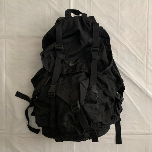 1990s Vintage Nike Black Nylon Parachute Backpack - Size OS