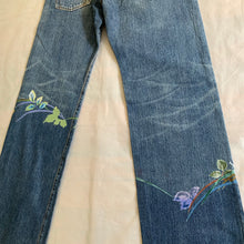 Load image into Gallery viewer, aw2002 Yohji Yamamoto Hand Painted Floral Denim - Size XL