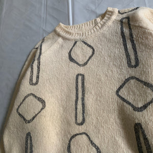 1990s Armani Painted Beige Wool Sweater - Size M