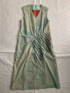 1990s Vintage Joe Casely Hayford Object Dyed Dress with Slash Embroidery - Size S