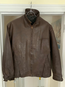 1980s CDGH Brown Paneled Leather Work Jacket - Size OS