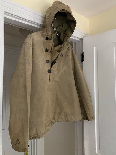 1940s Vintage WW2 US Navy Faded Khaki Smock - Size L