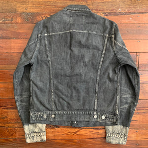 2000s Yohji Yamamoto Faded Denim Trucker Jacket with Bleach Dipped Sleeve Hems - Size M