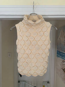 1990s Armani Cream 3D Design Sleeveless Pullover Knit - Size S