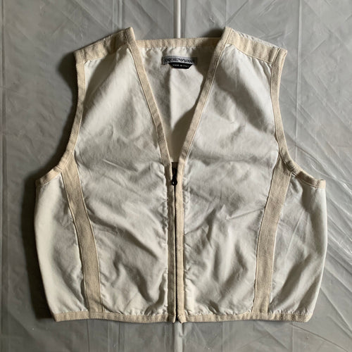 1990s Armani White with Beige Trim Racer Vest - Size L