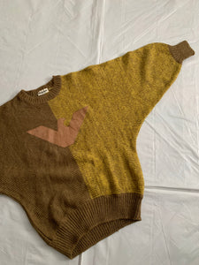 1980s Armani Batwing Two Tone Mohair Sweater with Brown Leather Eagle Patch - Size M