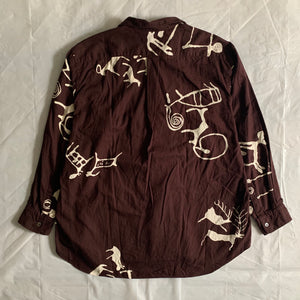 1990s CDGH Hand Dyed Tribal Characters Maroon Shirt - Size L