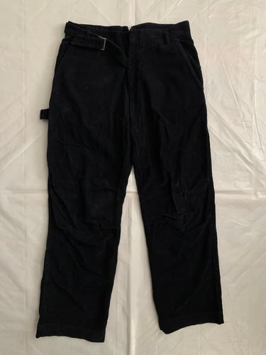 2000s Armani Deep Black Articulated Corduroy Carpenter Pants - Size M
