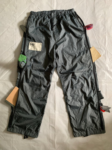 1990s Final Home Faded Grey Nylon Survival Zipper Pants - Size L