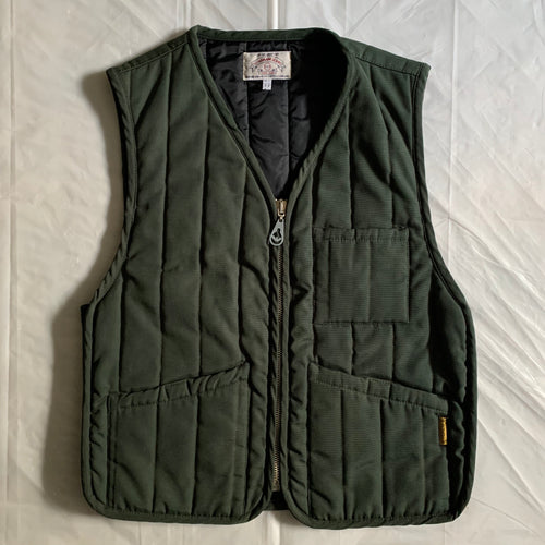 1990s Armani Forest Green Padded Quilted Vest - Size L